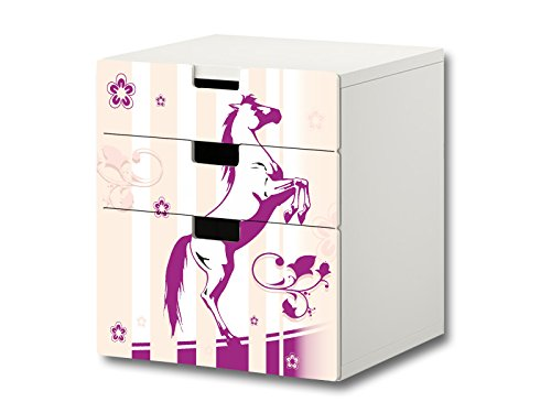 Stikkipix Pferdewelt Möbelsticker/Aufkleber - S3K22 - passend für die Kinderzimmer Kommode mit 3 Fächern/Schubladen STUVA von IKEA - Bestehend aus 3 passgenauen Möbelfolien (Möbel Nicht inklusive)