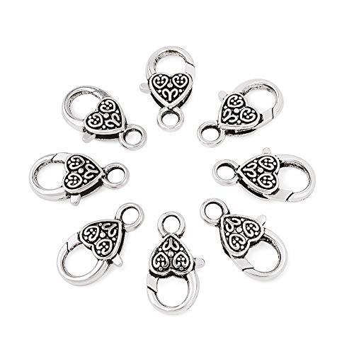 Cheriswelry. 50 cierres de corazón estilo tibetano, de plata envejecida, con forma de corazón grande, conectores de cadena de 1 x 0,55 pulgadas, para hacer joyas