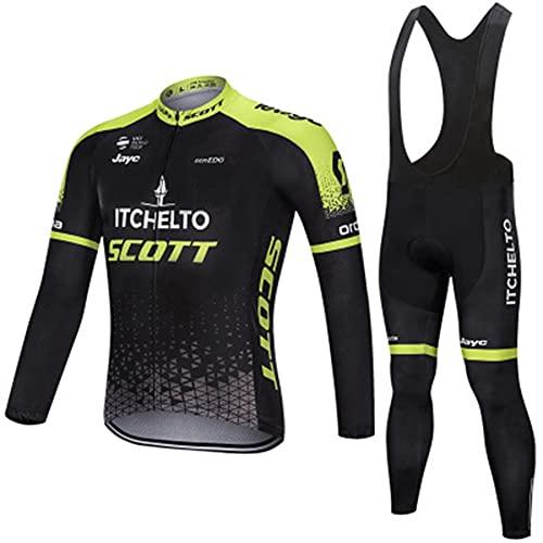 AJL Maglia da Ciclismo PRO da Uomo ITCHELTO Scott Autunno Inverno, Tuta da Ciclismo da Esterno per Bici da Corsa Club, Set Combo Ciclo di Compressione ad Asciugatura Rapida (Color : XL)