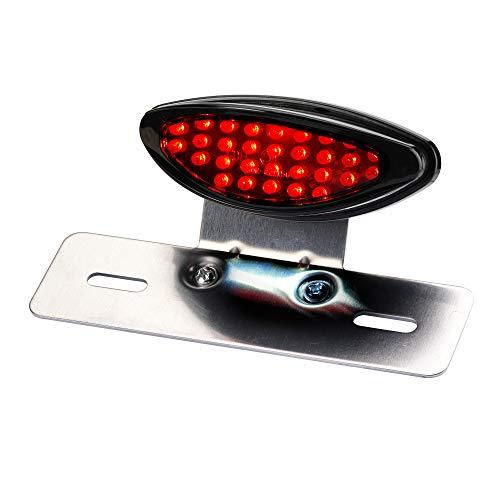 LED Motorrad Rücklicht Classic mit Kennzeichenträger und Kennzeichenbeleuchtung Schwarz Rotes Glas Quad ATV Roller Scooter