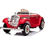 sopbost 12V 14AH Ride On Car for Kids Ride on Classic Car Licensed Mercedes Benz Electric Vehicles Ride on Toys with Remote Control for Kids, 1+1 Seater Parents Mode, LED Light, Music, Bluetooth, Red