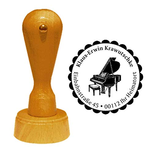 Stempel Adressstempel « FLÜGEL » Durchmesser ca. Ø 40 mm - mit persönlicher Adresse, Motiv und Zierrand - Musik Instrument Klavier Piano Pianist