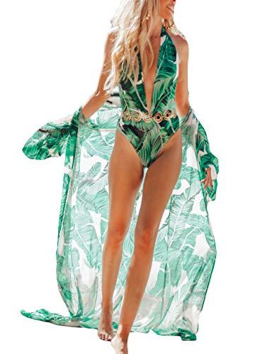 Bsubseach Women Casual Chiffon Beachwear Kimono Cardigan Green Leaf Print Bikini Cover Up Half Sleeve Swimwear Cover Ups