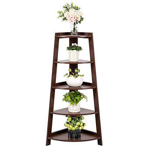 5 Tier Rustic Corner Shelf Stand, Industrial Small Bookcase Corner Ladder Shelf Plant Stand for Living Room, Kitchen, Home Office (Brown)