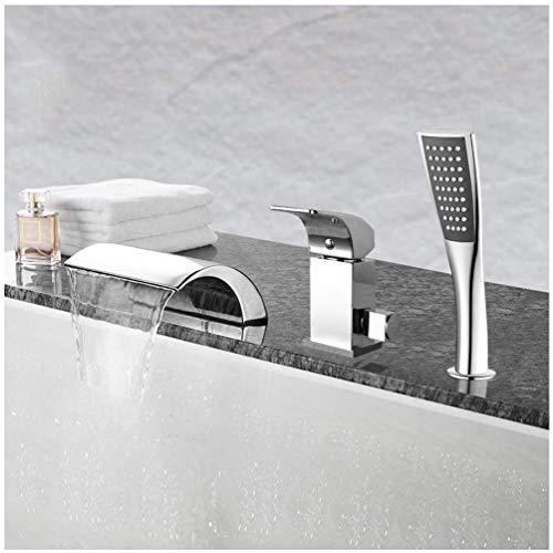 Badewannenarmatur mit Handbrause, Badewanne Wasserfall Wasserhahn Duschkopf Set, 3 Loch Badewannenarmatur Wasserfall, Warmes Kaltes Wasser Badewannenarmatur, Modernes Design Wasser Sparen Kein Lärm