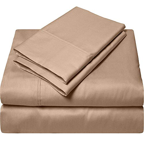 VGI Linen Top Selling Queen Sleeper Sofa 4-PCs Bed Sheet Set on Amazon !! Made from Heavy Egyptian Cotton Quality Solid Taupe Color, Queen Size Fits Pockets 5