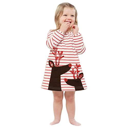 VESNIBA Vestido de princesa para bebé o niña, a rayas, diseño de ciervo rojo 100 cm