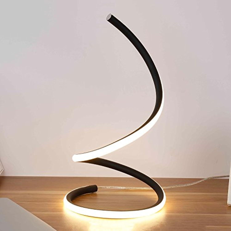 15W LED gebogene Tischlampe, postmoderne Aluminiumspirale Schwarz Gold Silber Wei Leselampe für Kinderbeleuchtung Creative Study Desk Light, 3-farbige Lichtblende (Farbe   schwarz)