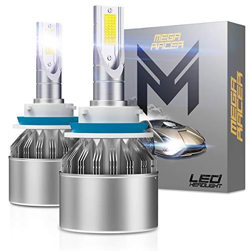 Mega Racer H9 LED Headlight Bulb H9 Bulb LED Headlights 6000K Ultra Bright White LED High Beam Headlights 8000 Lumens Hi Beam LED Headlight Bulbs CREE COB 80W LED Headlight Conversion Kit