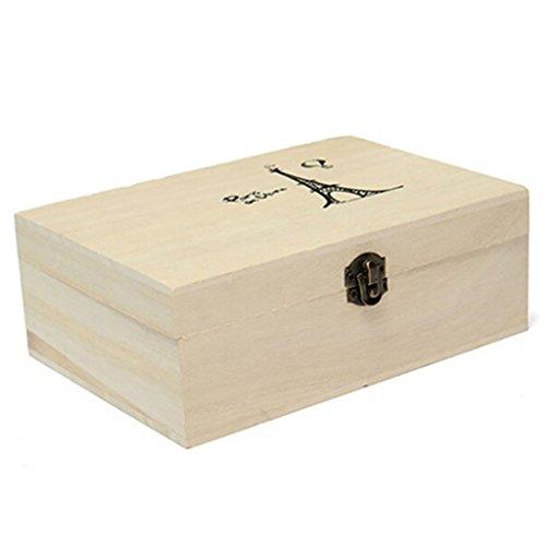 super1798Plain sin pintar de madera natural caja de almacenamiento de pequeño pecho Craft caja