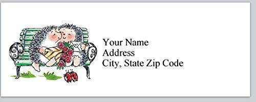 120 Personalized Return Address Labels Cute hedgehogs in love (bx 189)