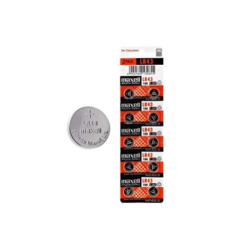 Maxell LR43 Alkaline Battery 1.5V (10 Pack)