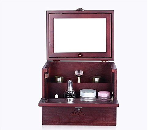 MEYLEE Table en Bois Princesse Boite Maquillage Grande capacité européenne Retro sculpté Apporter s'Habiller Ensembles de boîtes de Rangement cosmétique, Red Wine
