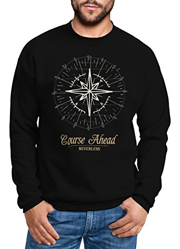 Neverless Herren Sweatshirt Pullover Kompass Windrose Navigator Segeln Rundhalspullover schwarz XL