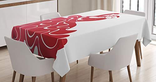 ABAKUHAUS Español Mantele, Flamenco Rendimiento, Fácil de Limpiar Colores Firmes y Durables Lavable Personalizado, 140 x 200 cm, Oscuro Coral Rojo Blanco