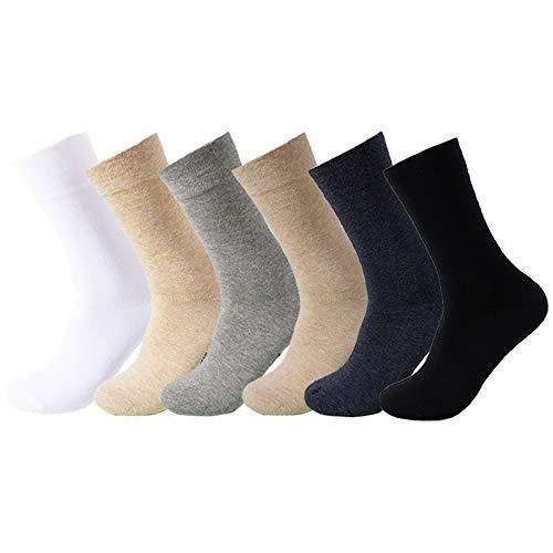 Feetalk Women's 98% Cotton 6 Pack Lightweight Casual Solid Thin Dress Crew Socks for Business( M: Women's shoe size 5-7.5 )
