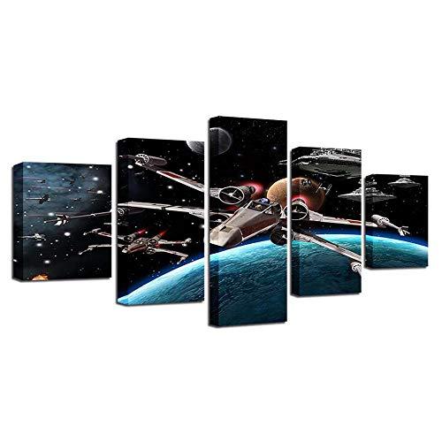 REWE TIK TOK Cuadros Modernos Baratos Salon,Póster de película Planet Wars sin Marco 150 * 80 cm,Cuadro en Lienzo 5 Piezas Abstracto Moderno Grande Dormitorios Foto Murales para Pared XXL