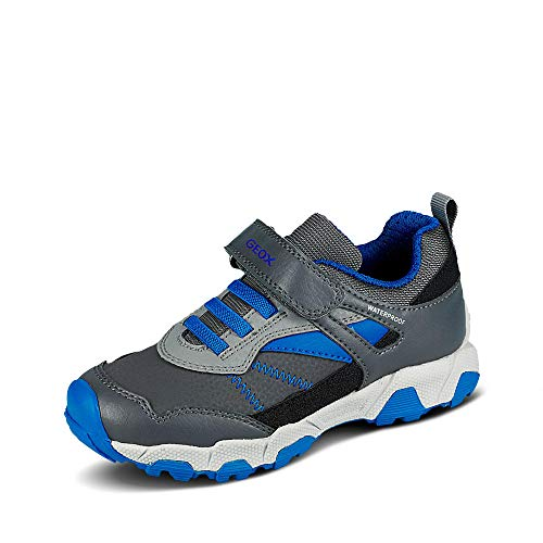 Geox Jungen Sneaker MAGNETAR Boy WPF, Kinder Low-Top Sneaker,lose Einlage,wasserdicht, Jungen Kinderschuhe Spielen,DK Grey/ROYAL,27 EU / 9 UK Child