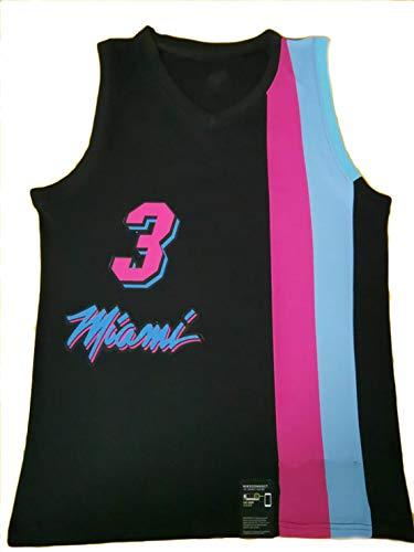 EARAID Calor 3# Wade Men's Retro Basketball Jersey, Jersey Bordado Swingman, Fibra 100% Poliéster, Textura Suave Transpirable Black-XL