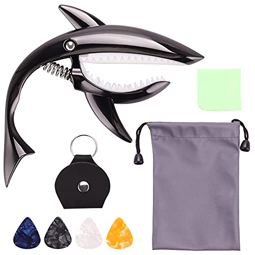 Isrono Shark-shaped Zinc Meta Guitar Capo Guitar Tuner Suitable for Guitar Electric Guitar and other 4 or 6 Strings Instrumentsu with A Pick Wallet and 2 Picks Black