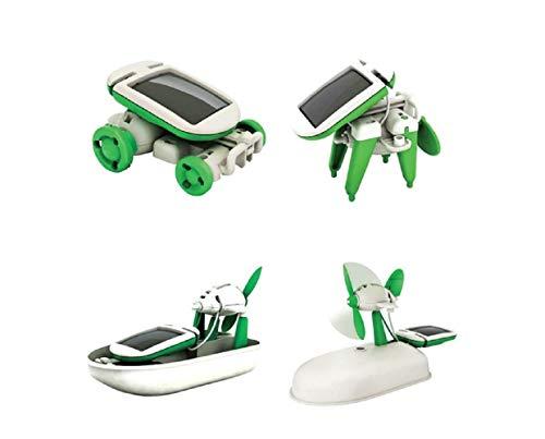 Kit regalo giocattolo per bambini a energia solare 6-in-1 di apprendimento creativo fai-da-te per bambini: aeroplano rotante, mulino a vento, aeroplano, airboat, cucciolo, auto (6in1, 3-4 Years)