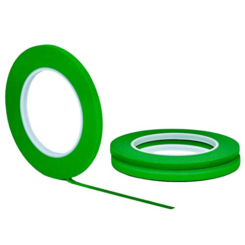 "3 pack 1/4"" inch x 60yd STIKK Green Painters Tape 14 Day Easy Removal Trim Edge Thin Narrow Finishing Masking Tape (.25 IN 6MM)"