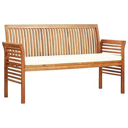 3-Sitzer Gartenbank mit Kissen 150 cm Massivholz Akazie