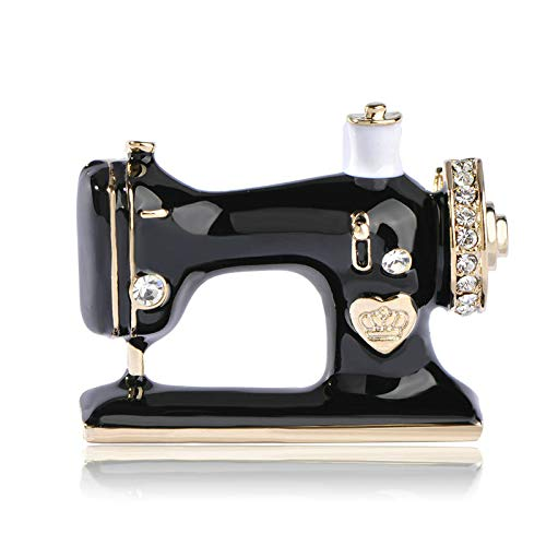 TeRIydF Señoras niña máquina de Coser Broche Negro Esmalte Broche joyería Turbante Collar Traje Bufanda decoración Accesorios  