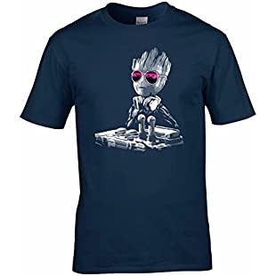 DJ Baby Groot Mixing Deck + Sun Glasses T Shirt (Navy Blue, XXXXX-Large)