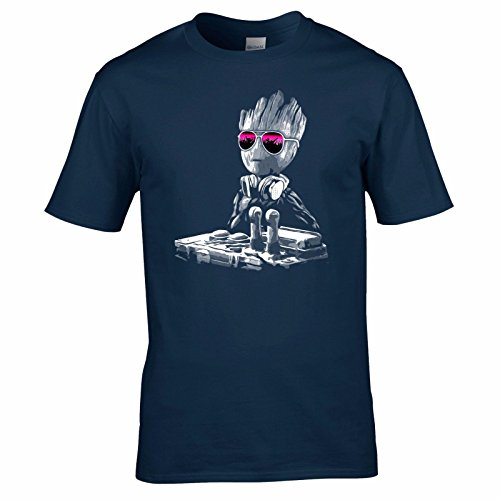 UKPrintwear DJ Baby Groot Mixing Deck + Sonnenbrille T-Shirt Gr. L, marineblau