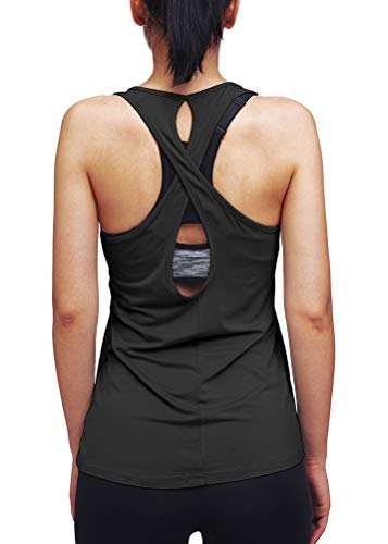 Mippo Womens Workout Tank Tops Yoga Shirts Muscle Tank Cute Workout Clothes Athletic Running Tank Tops Active Wear Backless Shirts Gym Fitness Exercise Clothes for Women Black M