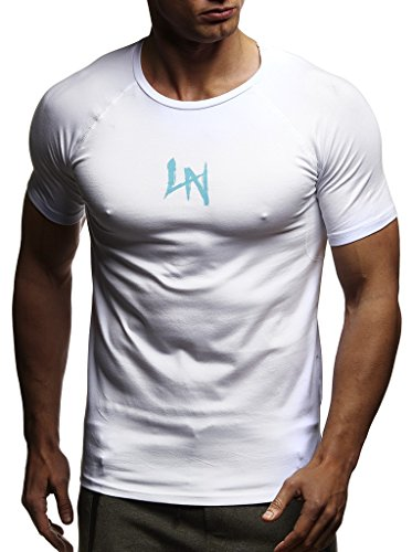 Leif Nelson Gym Herren Fitness T-Shirt Slim Fit Moderner Männer Bodybuilder Trainingsshirt Kurzarm Top Herren Sport T-Shirt - Bekleidung für Bodybuilding Training LN8041 Weiss Large
