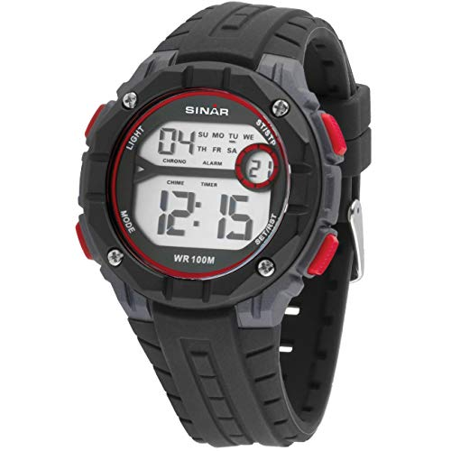SINAR Jugenduhr Sportuhr Outdoor digital Quarz schwarz grau rot 10 bar wasserdicht Licht XE-56-4