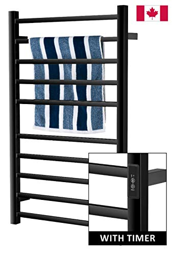 Towel Warmer | Built-in Timer with Led Indicators | 3 Timer Modes: ON/Off, 2 H, 4 H | Wall Mounted | 10 Bars | Matt Black |