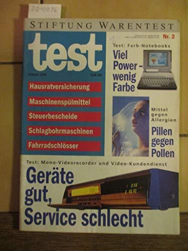 Stiftung Warentest Heft Nr. 2 / 1994: Hausratsversicherung, Maschinenspülmittel, Steuerbescheide, Schlagbohrmaschinen, Fahrradschlösser, Mittel gegen Allergien