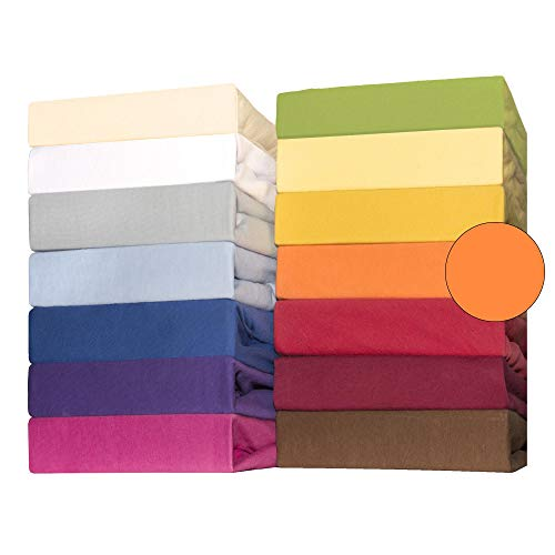 CelinaTex Lucina bebés niños sábanas Ajustables Camas para bebé Camas para niños algodón 60x120-70x140 cm Naranja