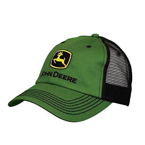 John Deere Mesh Backed Hat with Construction Logo, Green