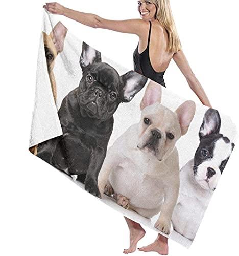 WJSQJ Toallas De Playa Toallas De Baño para Perros Bulldog Toalla De Playa Absorbente Súper Suave Adecuado para Niños Y Adultos Viajes Yoga Natación Y Camping 80X130Cm
