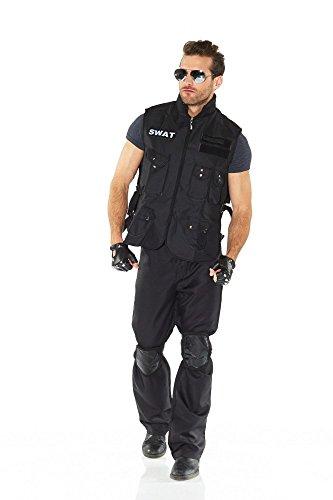 shoperama 6-teiliges SWAT Herren-Kostüm inklusive Pilotenbrille Weste Handschuhe Knieschoner, Größe:L
