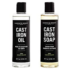 Caron Doucet - Cast Iron Care Bundle - Oil & Soap - 100% Plant-Based Formulation - Helps Maintain Seasoning