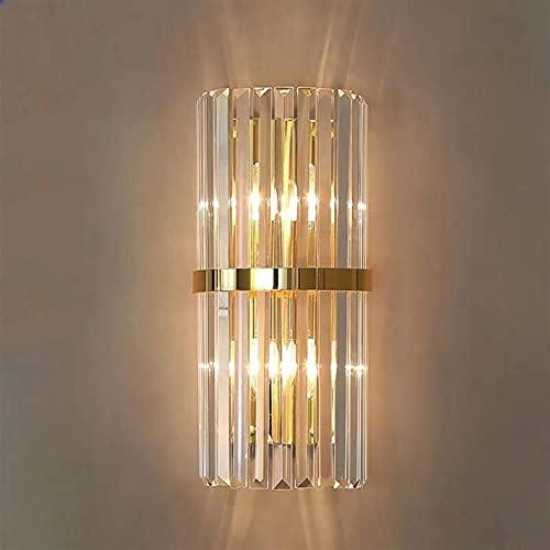 lámpara de pared CRISTAL DORMITORIO PARED LIGHT FAMILLA DE LUZ AJUSTABLE TV FONDO FONDO Corredor Lámpara Simple poste Moderna Lámpara de noche Noche E14 ( Color Temperature : Warm , Size : Gold )