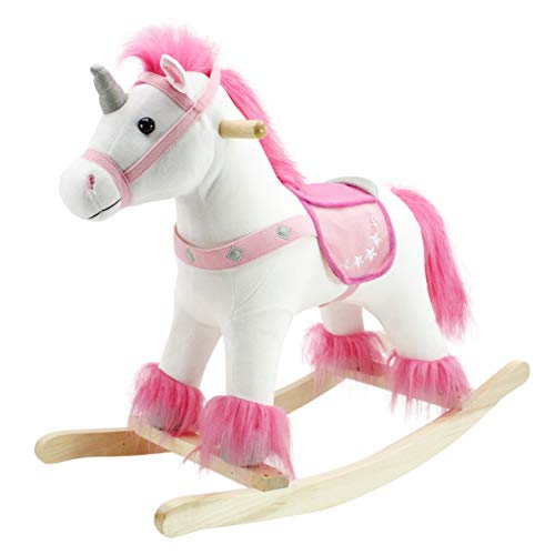Animal Adventure | Real Wood Ride-On Plush Rocker | White and Pink Unicorn |...