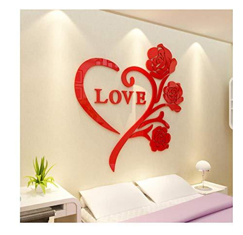 Ziruixiong Love Rose 3D Pegatina De Espejo De Cristal Acrílico Decoración De La Habitación Pegatina De Pared Dormitorio Cálido Y Romántico Idea De Boda 50 * 50Cm