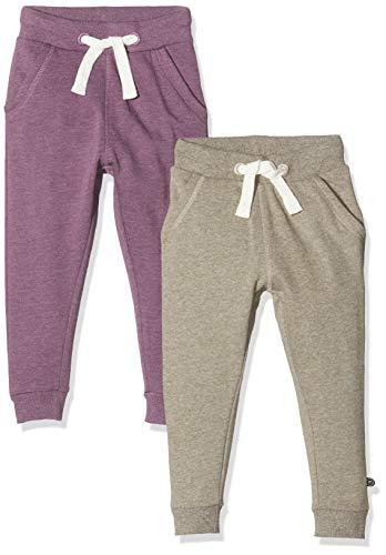 MINYMO Mädchen 2er Pack Sweat Pants/Freizeithose Hose, Mehrfarbig (Purple/Grau 647), (Herstellergröße:98)