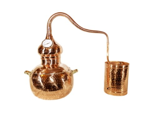 Alambique destilador de cobre, destilados herbales, alcoholes, aceites esenciales, aguardientes, cobre, 5 L
