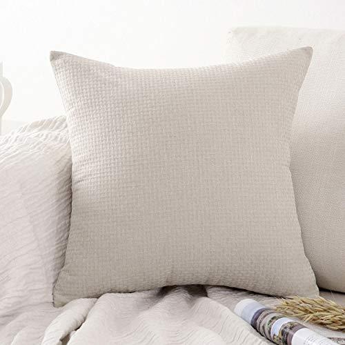 Jepeak - Funda de cojín de lino y algodón con patrón de ratán, color beige, 45,7 x 45,7 cm