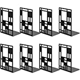 FONSWEA 8 Pack Black Metal Bookends, Non Skid Heavy Duty Book Ends with Rubber Pads, Decorative Book Supports and Holders for Books, Shelves,Book Stoppers Book Divider for School Office Library