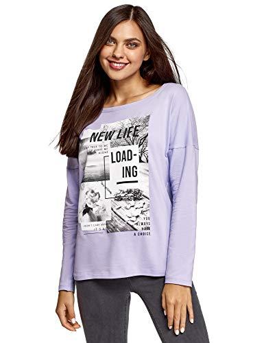 oodji Ultra Damen Baumwoll-Shirt mit Druck, Violett, DE 36 / EU 38 / S