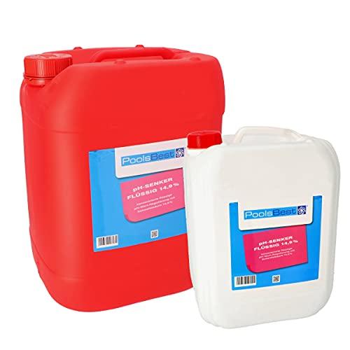 POOLSBEST® 11 kg pH-Senker flüssig für Pools - pH Minus zur optimalen pH-Wert Regulierung
