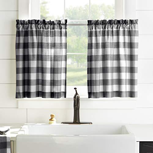 "Elrene Home Fashions Farmhouse Living Buffalo Check Window Kitchen Tier Set, 30"" x 24""(Set of 2, Black/White, 2 Count"